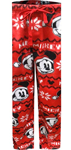 Disney Merry Christmas Mickey Mouse Minky Lounge Pants For Men (Medium) (Mickey Mouse Lounge Pants For Men)