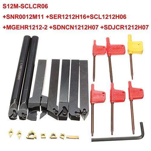 7pcs 12mm Shank Lathe Set Boring Bar Turning Tool Holder Kit With Carbide Inserts
