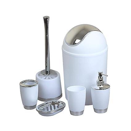 6 Piezas Baño de Seis Piezas Conjunto de Accesorios de Baño Escobilla para Inodoro y el