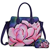 Anuschka Hand Painted Designer Leather Handbag-Christmas gifts for women-Expandable Leather Satchel (Magnolia Melody 551 MGM)