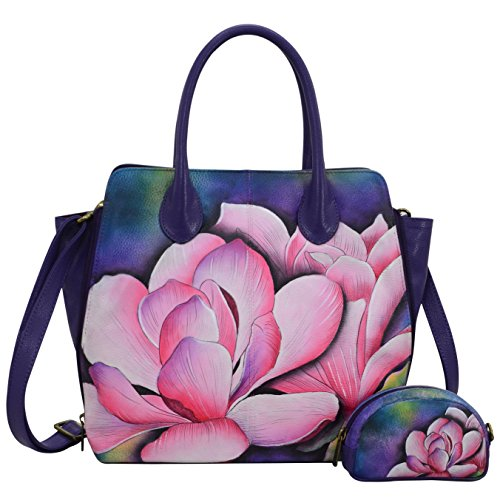 Anuschka Hand Painted Designer Leather Handbag-Christmas gifts for women-Expandable Leather Satchel (Magnolia Melody 551 MGM) by Anna by Anuschka