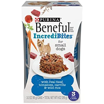 Amazon.com : Beneful Purina IncrediBites Real Beef, Tomatoes, Carrots & Wild Rice Dog Food 3-3 oz. Cans Small Dogs (8) : Pet Supplies