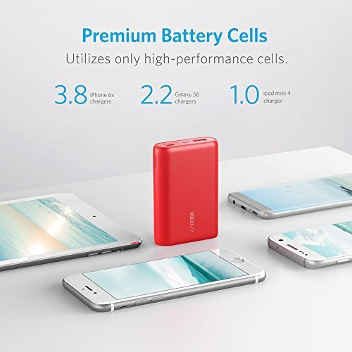 Anker PowerCore 10000 One of the Smallest and Lightest 10000mAh External battery potential very in size substantial rate Charging concept potential Bank for iPhone Samsung Galaxy and a great dea Red Batteries