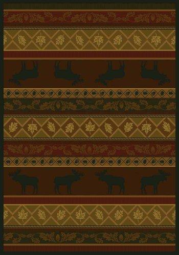 (United Weavers Marshfield Genes Moose Brown/Green Southwestern Rug 5'3