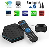 Aoxun TV Box Android6.0 Intelligent set-top box T95Z plus CPU Amlogic S912 Octa-core 64 Bits 3GB RAM 32GB ROM with a Wireless Keyboard Dual wifi smart set-top boxes Bluetooth 4.1 and True 4K Playing