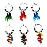 OCTOPUS & SEAHORSE WINE GLASS CHARMS (tag/markers) set of 6