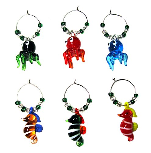 OCTOPUS & SEAHORSE WINE GLASS CHARMS (tag/markers) set of 6 by RiverView Enterprise