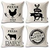 ONWAY 4 Farmhouse Throw Pillow Covers 18x18 Modern Black Farmhouse Decor for Patio