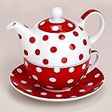 matches21 Teekanne mit Tasse Teebecher und Untersetzer Teller Set rot gepunktet 15x14 cm aus Porzellan Geschenkset
