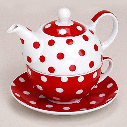 Teekanne mit Tasse Teetasse und Untersetzer Teller TEA FOR ONE Set rot gepunktet 15x14 cm aus Porzellan Geschenkset