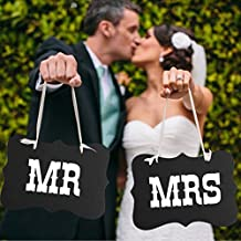 Dealglad® MR & MRs Letter Bride and Groom Sign Banner Photo Booth Props for Wedding Chair Decoration Party Favor
