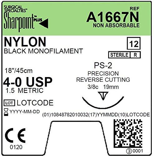 A1667N Sharpoint PLUS monofilament nylon suture, 4-0, Black, 18