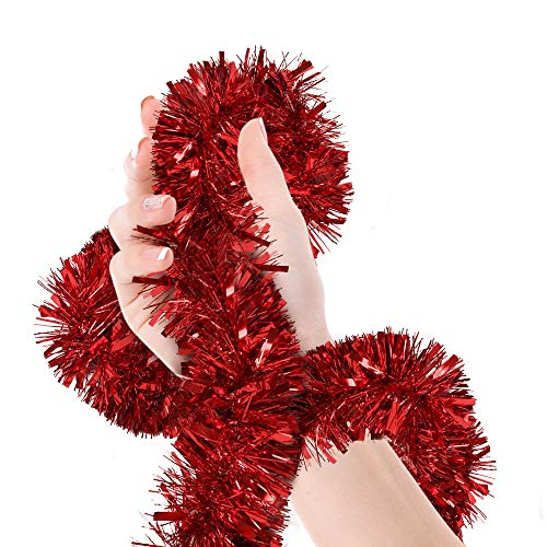 Treasures Gifted Valentines Day Red Tinsel Garland Christmas Tree Metallic Streamers Celebrate a Holiday Happy Birthday New Years Eve Wedding Party Indoor and Outdoor Disco Decorations Supplies (Red Garland Christmas)