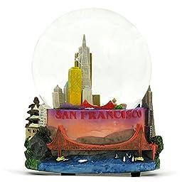 Musical San Francisco Snow Globe, Skyline and Landmarks of San Francisco, 5.5 Inches Tall