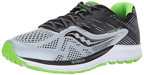 Saucony Men's Ride 10 Running Shoes, Grey/Black/Slime, 10.5 W US