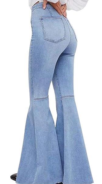 ebe36888609 Skirt BL Women s Plus Size Wide Leg Bootcut Capri Palazzo Jean Pants Suits  Blue