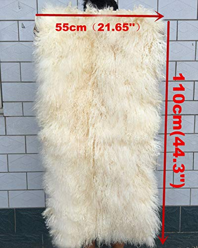 Tibetan Mongolian Sheepskin Rug Tibetan Mongolian Wool Throw Carpet Curly Fur Pelt Throw Rug Home Decorative Curly Fur Soft, Beige, 21.7 x 44.3in