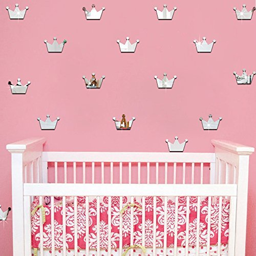 Ufengke 15-Pcs 3D Silver Princess Crown Mirror Effect Wall Decals,Children's Room Nursery Removable Wall Stickers Murals