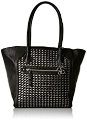 This zip top tote features woven panel detailing on the front and a removable bag charm