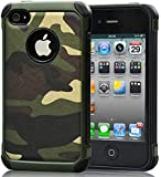 iPhone 4 Case,iPhone 4s Camo Case Defender Shockproof Drop proof High Impact Armor Plastic and Leather TPU Hybrid Rugged Camouflage Cover Case for Apple iPhne 4 / 4s Green