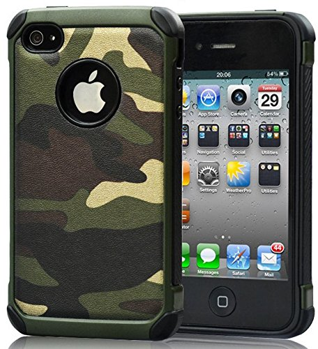 iPhone 4 Case,Armor Hybrid Rugged Camouflage Case for Apple iPhone 4 / 4S - Green