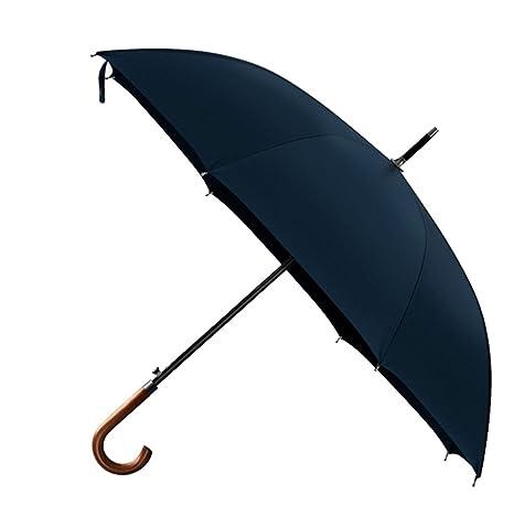 Hombre de negocios Doble paraguas-Mango de madera Caballero Mango doblado Sombrilla Super fuerte A