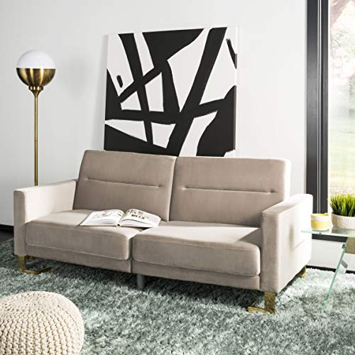 Safavieh LVS2001G Home Collection Tribeca Grey And Brass Foldable Sofa Bed