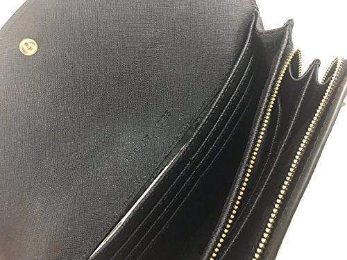 Michael Kors Jet Set Slim solapa Pebbled cartera de piel Negro