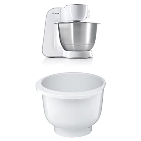 Bosch MUM54270DE Küchenmaschine (900 W, 3,9 l, edelstahlrührschüssel, Würfelschneider) weiß/silber + MUZ5KR1 Kunststoff-Rührs