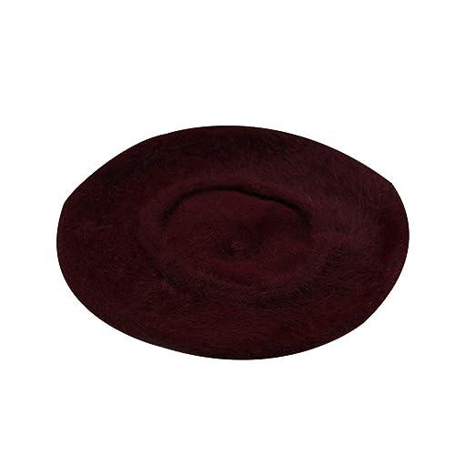 Boina Gorra Color Sólido De Lana Para Mujeres Muchachas En Otoño Invierno (Vino Tinto)