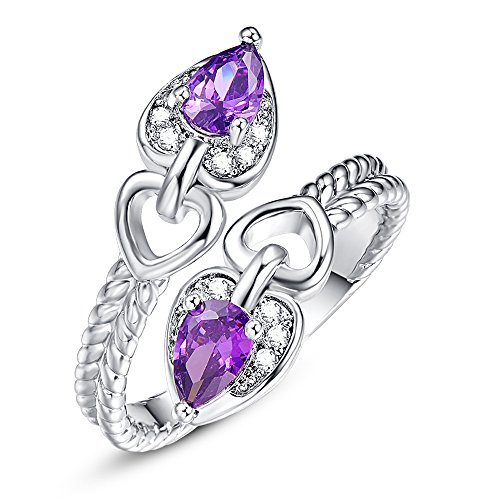 (Veunora 925 Sterling Silver Created 4x6mm Amethyst Filled Teardrop Bypass Ring Size 7)
