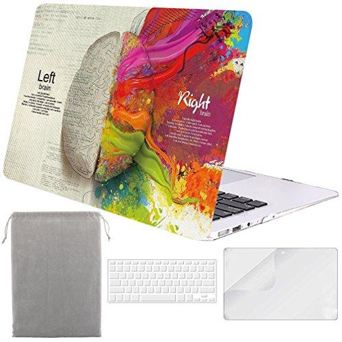 Sykiila - for MacBook Air 13 Inch Case Hard Cover 4 in 1 Folio Case + HD Screen Protector Film + TPU Keyboard Cover + Sleeve for MacBook Air 13 Model: A1369 / A1466 - Left Right Brain