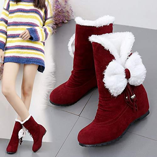 chaussures Chaud Rouge En Hiver Talons Bottes Neige Bout Rond Compensés Daim Pour Femme cuissardes À Garder Enfiler Taille 35 43 Femmes Au Les De nY6AnqgEW