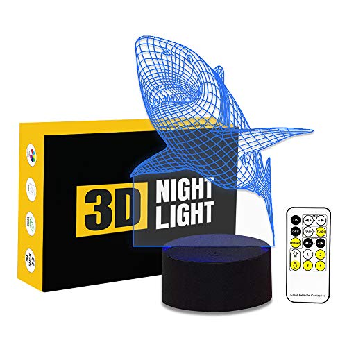 ul Gradients 3D Amazing Shark Optical Illusion LED Lamp 7 Colors Changing Touch Button and 15 Keys Remote Control for Children Kids ()
