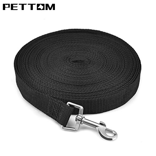 Pettom 30FT Gear Cotton Web Dog Training Leash Lead Black (L 30 Ft, Black) (Cotton Training Leash)