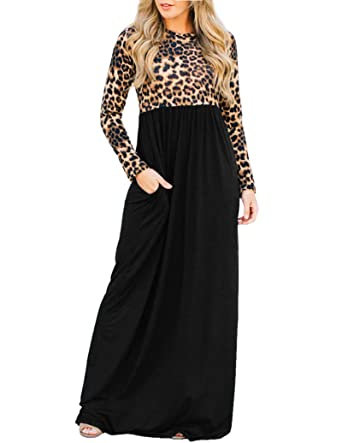 4cfcd3a3f60 GAMISOTE Womens Leopard Maxi Dress Casual Long Sleeve High Waist Dresses  with Pocket Black
