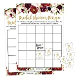 25 Pink Flower Bingo Game Cards For Bridal Wedding Shower and Bachelorette Party, Bulk Blank Squares To Fill In Gift Ideas, Funny Supplies For Bride and Couple PLUS 25 Wedding Ring Bingo Chip Markers