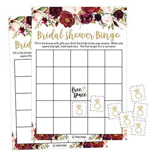 25 Pink Flower Bingo Game Cards For Bridal Wedding Shower And Bachelorette Party Bulk Blank