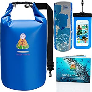 Lazy Monk Dry Bags Waterproof | Water proof Bag Backpack| BEST Kayak & Travel Sack Accessories with Phone Case