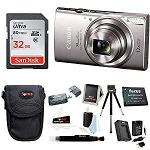 Canon PowerShot ELPH 360 HS Digital Camera (Silver) w/ 32GB SD Card Bundle