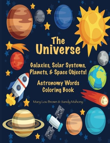 the universe galaxies solar systems planets space objects astronomy words coloring book. Black Bedroom Furniture Sets. Home Design Ideas
