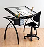 Professional Top Selling Art Design Drafting Desk Table With Adjustable Angle Work Surface- Beautiful Black Frame With Tempered Glass Extra Large Work Area- Storage Drawers Organizers- Perfect Studio