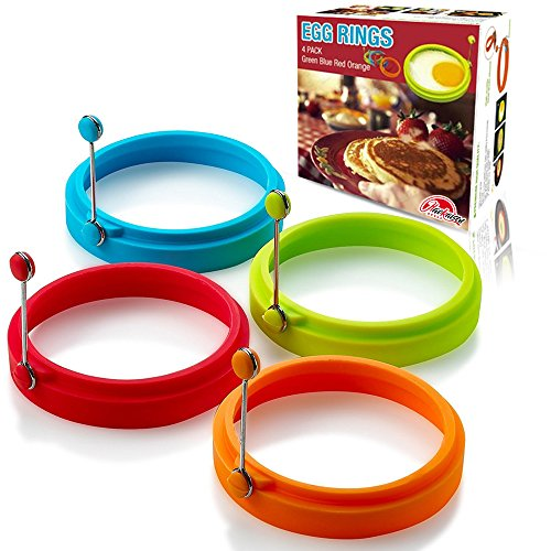 - New Egg Ring, Silicone Egg Rings Non Stick, Egg Cooking Rings, Perfect Fried Egg Mold or Pancake Rings(4pcs)