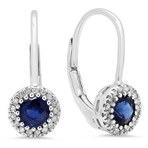 (10K White Gold Round Blue Sapphire & White Diamond Ladies Halo Style Dangling Drop Earrings)