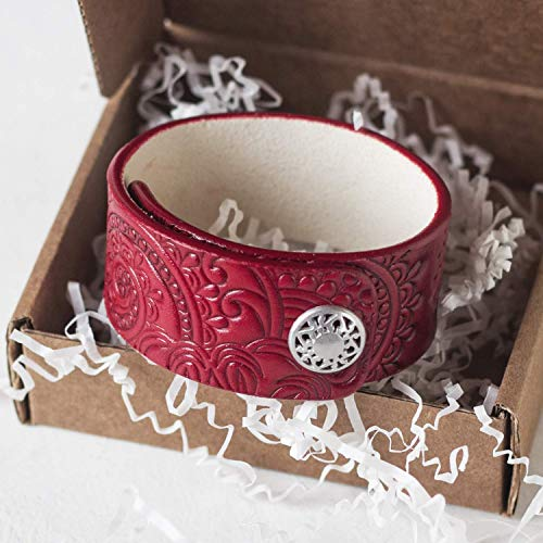 Red Leather Bracelet for Women, Hand Painted, Embossed, Metal Snap, Wrist size 6.0-6.5 inches