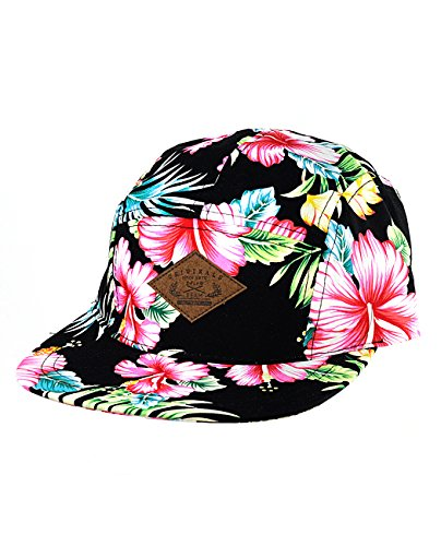 NYfashion101 Adjustable All Over Floral Print 5-Panel Flat Bill Cadet Cap