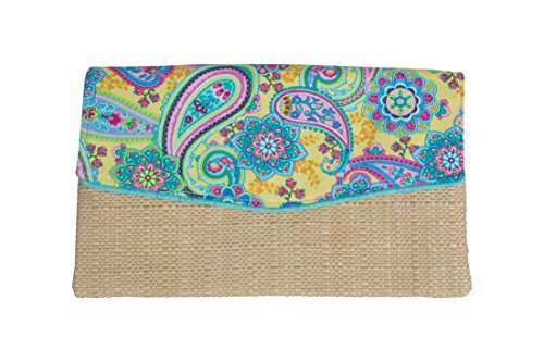 Caught Ya Lookin' Madison Clutch, Yellow/Blue Paisley with Tiffany ()