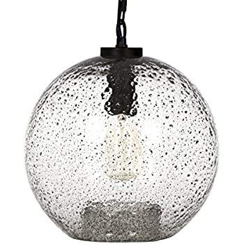 CASAMOTION Black Metal Powder Contemporary Hand Blown Seeded Glass Pendant Light, Ceiling Hanging Lighting Fixtures, Clear, 11 inch