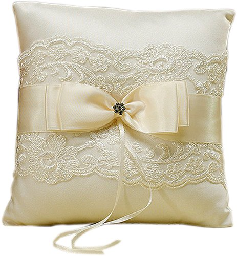 Beverly Clark French Lace Ring Pillow, Ivory - Beverly Clark Ring Pillow