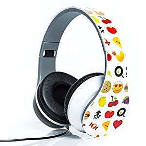 Smiley Print Over the Ear Foldable Headphone (WHITE)